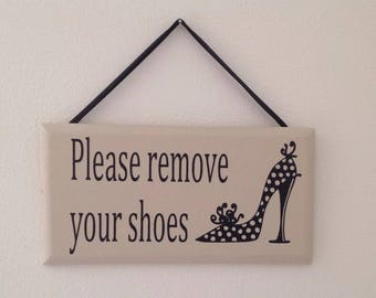 Please Remove Your Shoes Sign Wood Plaque
