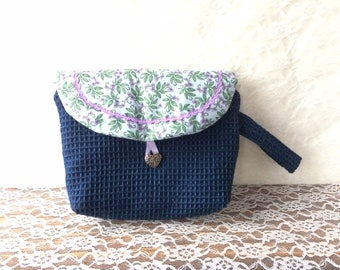 Spécial denim make-up bag with flap - purple and blue