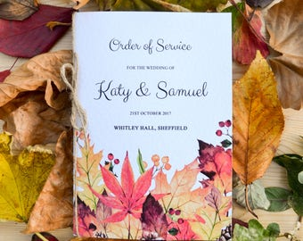 Autumn Fall Order of Service Booklet - Handmade Rustic Wedding