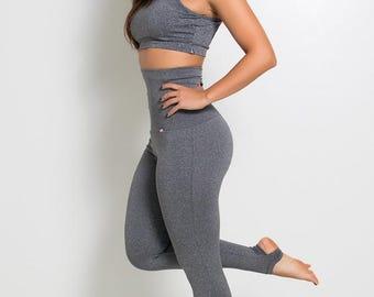 Heather Grey Extra High Waisted Stirrup Leggings Yoga Pants Brazilian Workout Activewear Shapewear