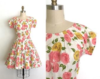 vintage 1950s dress | 50s rose print day dress
