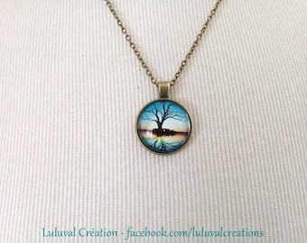 bronze necklace, tree of life cabochon