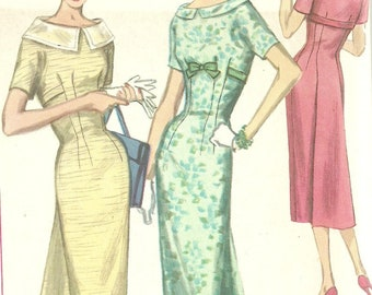 Rare Vintage Wiggle Dress Pattern with Back Lined Back Panel Bust 36 Simplicity 1874 Size 16