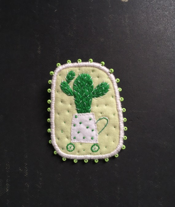 Brooch - Cactus on the wheels , hand embroidered pin. Wearable art. Embroidery brooch. Botanic embroidery. Cactus embroidery. Unique gift.
