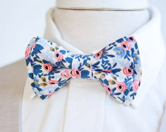 Bow Tie, Mens Bow Tie, Bowtie, Bowties, Bow Ties, Groomsmen Bow Ties, Wedding Bowties, Ties, Rifle Paper Co - Rosa In Periwinkle