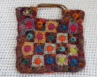 patch-work crocheted bead embellished hand-bag