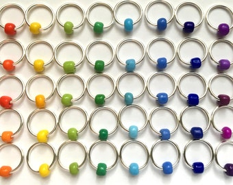 stitch markers for knitting markers, retro, notions, rainbow, rings , ringos   - RAINBOW RINGOS
