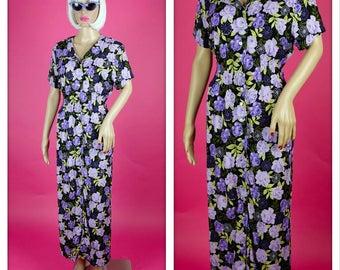 Vintage 1990s Black and Purple Button Up Floral Maxi Dress