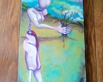 Original oil painting, surreal figure, tree, landscape, outsider, modern, unique