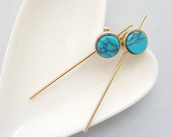 Turquoise Marble Earrings,Geo Marble Earrings,Marble Earrings,Marble Stone Earrings,Stone Earring,Marble Bar Earring,Turquoise Stone Earring