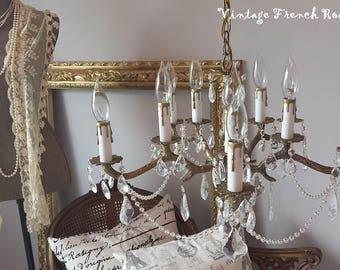 Vintage Floral Chandelier Italian Tole Floral Chandelier - Brass chandelier with crystals