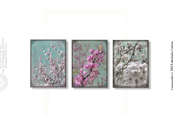 Spring Blossoms Photo Set Blue Sky White Pink Peach Blossoms Branches Soft Nursery Decor Dreamy Bathroom Art Set Bedroom Wall art