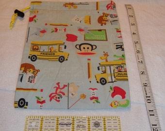 Monkey School Handmade Drawstring Bag