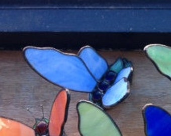 Stained Glass Butterfly - 3D - Sky Blue