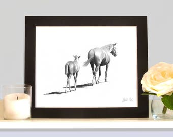 Mare and Foal 'Going Home' Limited Edition Print