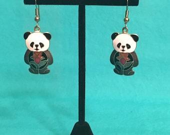 Vintage cloisonne panda bear earrings