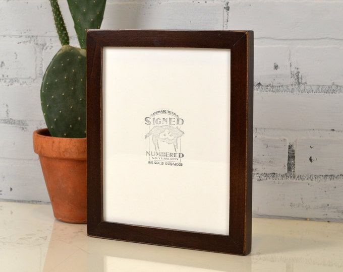 8x10 Picture Frame in 1x1 Flat Style with Vintage Dark Wood Tone Finish - IN STOCK - Same Day Shipping - Rustic Solid Wood Frame 8 x 10