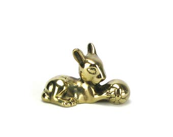 Vintage Brass Rabbit Figurine - Gold Bunny Woodlands Animals - Hollywood Regency Mid Century - Nursery Decor Baby Shower - Adler Style