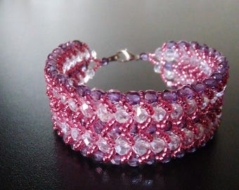 Double flat spiral rose and crystal bracelet