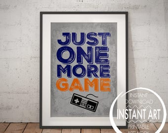 Nintendo Controller Print - Just one more Game - Retro Nintendo - video game poster - game room decor - video game art - NES controller