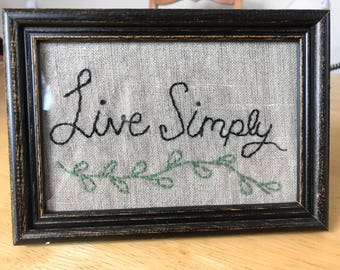 Live Simply Embroidered Art