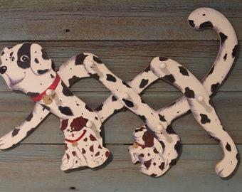 Coat Hook ~ Black & White Dog ~ Brown And White Dog ~ Vintage Accordion Puppy Clothing Hook ~ Clothing Hook ~ Expandable Dog Hook ~ Nursery