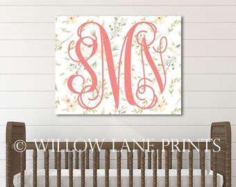 baby name sign for nursery wall art for girls, monogram canvas art, floral nursery decor, girl room decoration, cute baby shower gifts