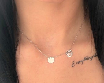 Sterling silver two circles necklace / chain necklace/ simple necklace / celebrity / dainty circle necklace