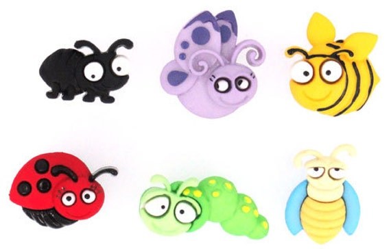 Bug Eyed set of 6 Buttons, Dress it Up Buttons, Bug Buttons, Kids Buttons-I
