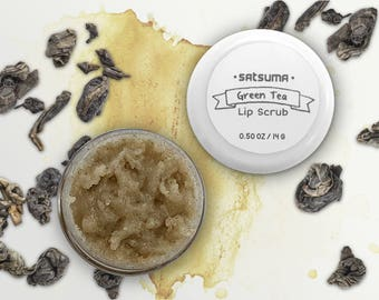 Green Tea Lip Scrub (.50 oz Jar) - 100% Natural - Exfoliating Lip Treatment