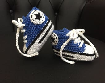 Crocheted slipper style blue converse with box - size 3-6 months
