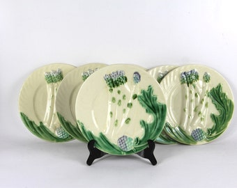 French Antique Asparagus Plates, Majolica Set of 6 Plates Salins Barbotine