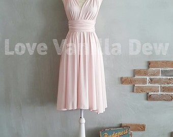 Bridesmaid Dress Infinity Dress Straight Hem Blush Knee Length Wrap Convertible Dress Wedding Dress