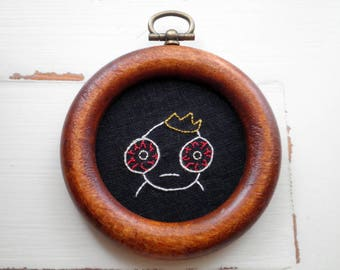 Modern Embroidery - Mini Hoop Art - Whimsical Embroidery - Embroidered Red Eyed Distressed Dude - Crazy Eyes Original Hand Stitched Hoop