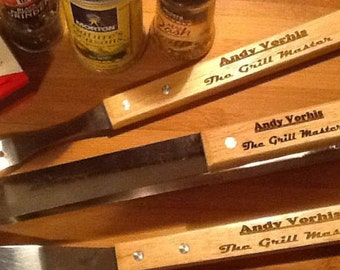 Grill Set-3 Piece-Engrave/Personalize- Grand/Fathers Day Gift, Groomsman Present, Birthday, Graduation, Business Promotion, House Warming