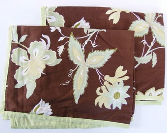 Vintage Pillow Shams, Brown with Pale Green Floral Design, Two Standard Size by West Point Stevens