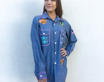Amazing 1970's Hand Embroidered Cancer Zodiac Sign Chambray Shirt