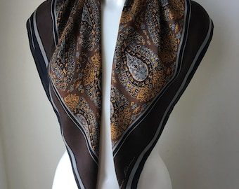 90s silk scarf paisley print brown gray bronze floaty rolled hem rectangular neck scarf headscarf sophisticated shoulder shawl