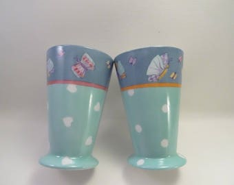 China mugs Butterfly patterns, handpainted, ideal for Easter eggs