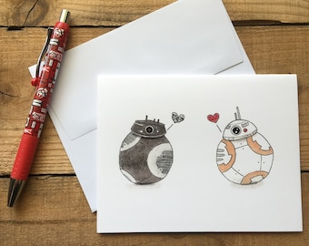 BB Love Blank Notecards - BB-8 and BB-9e Blank Notecards - Star Wars Blank Notecards