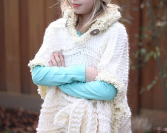 Bulky Knitted Oversized Poncho, Girls knitted poncho