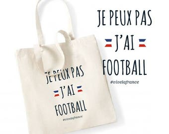 """TOTE BAG 100% cotton """"I can't I have football"""""""