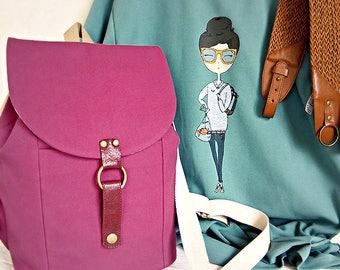Women's purple backpack handbag College School backpack teenager Canvas backpack Whale bag Travel bag Hipster backpack Student shoulder bag