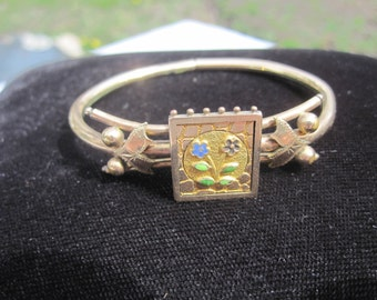 Victorian Bypass Bracelet with Enamel Flowers