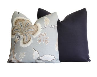 Schumacher Hot House Flowers in Mineral / Decorative Pillow Cover / Blue, Taupe, and Ivory Floral Pillow Cover