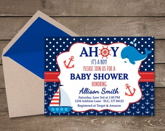 Nautical Baby Shower Invitation, Ahoy Its A Boy, Nautical Baby Shower, Boy Baby Shower Invitation, Baby Shower Invitation, Navy Baby Shower