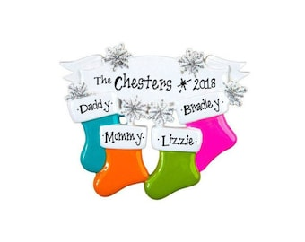 4 Stockings on a Snowflake Banner Ornament / Personalized Christmas ornament / Family Christmas / 4 Family Ornament / Baby Makes 4