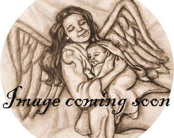 11x14 2 subject family pencil portrait with Baby in Heaven. Made to Order. Matting Included.