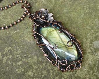 Labradorite Flower Necklace, Copper Anniversary Gift, Boho Pendant, Garden Pendant, Flower Jewelry, Floral Necklace