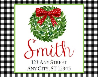 Christmas Address Labels, Black Gingham Kissing Ball Square Stickers for Gift Tags, Address Labels, Preppy Labels, Bookplate, Class Parties